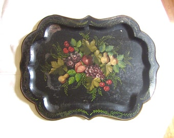 Black tole tray Antique  Hand Painted Fruit Design 1800s New England Estate
