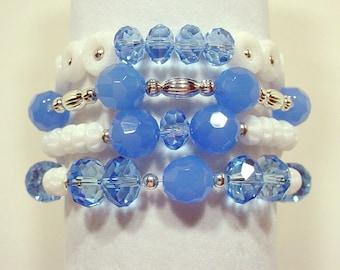 Four Blue & White Beaded Stack Bracelets, Stackable Bracelets, Stretch Bracelet Set, Boho Beaded Bracelets, Bohemian Stacking Bracelets