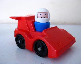 Vintage Fisher Price Little People / Play Family / Race Car and Driver