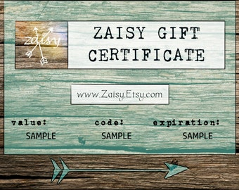 Gift Certificate to Zaisy, The Perfect Gift, Gift Card, PDF