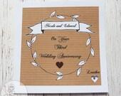 Handmade Personalised Third Wedding Anniversary Card Rustic Leaf Vintage Leather Heart Mr and Mrs