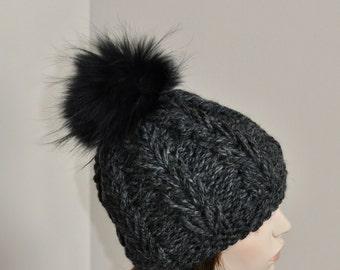 Fur Pom Pom Beanie Black Pompom Hat SALE Ski Women Hat CHOOSE COLOR Cabled Hat Fox Fur Pom Pom Christmas Gift under 100