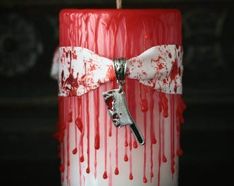 horror decor, blood candle, horror, gothic, halloween, Psycho, goth home, horror fan, writers gift, film gift, Macabre pillar candle