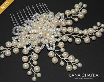 Bridal Pearl Crystal Hair Comb Wedding Floral Hair Comb Swarovski Ivory Pearl Hair Piece Wedding Pearl Headpiece Bridal Pearl Hair Jewelry