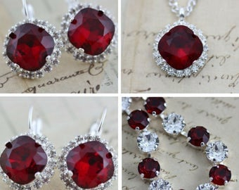 Red Jewelry Set Crystal Bracelet Necklace Earring Set Swarovski Crystal Mother of Bride Gift Maid Of Honor Also Avail As Clip On Earrings