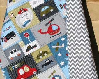Car Quilt Baby Boy Toddler Bedding Vehicles Trucks Cars Airplanes Helicopters Grey Gray Blue Red Vroom Nursery Bedding Blanket