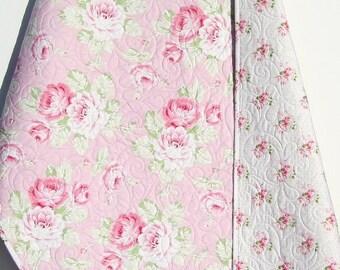 Shabby Chic Baby Girl Quilt, Cottage Tanya Whelan Pastel Light Pink White Child Youth Crib Cot Bedding Sunshine Roses Nursery Decor Floral