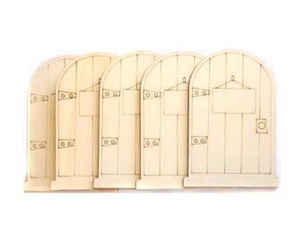 Set of 5 Wooden Fairy Doors Tooth Fairy Door Craft Supply