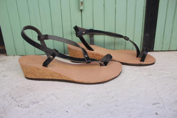 Greek leather sandals-Black wedges size 38 US 8-8.5 SALE, sandales compensees noir