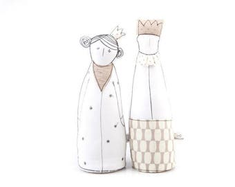 Handmade decor doll , King Queen , Dolls Pair , Couple gift , soft sculpture dolls , fabric dolls , unique wedding parents , Modern Nursery