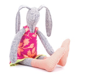Handmade Bunny Doll - Art Doll Rabbit - Stuffed bunny doll - plush soft cuddly toy - knitted silk rabbit doll in pink & peach - timo doll