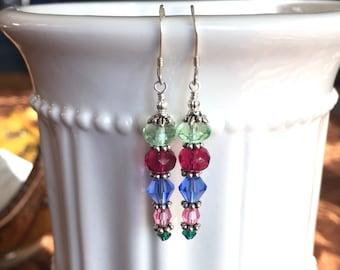 Long Green Fuchsia Blue Pink Teal Crystal Earrings in Silver