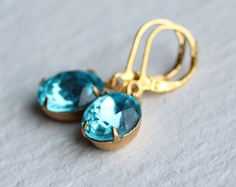 Turquoise Crystal Oval Earrings ... Aquamarine March Birthstone