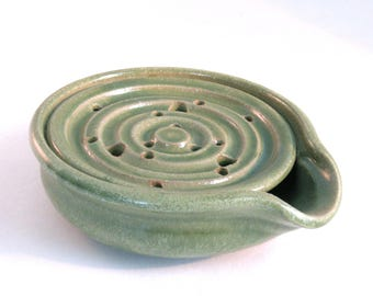 Soap Dish - Drain Tray - One Piece Soap Dish -  Draining Soap Dish - Handmade Pottery - Pottersong Pottery - Bright Green