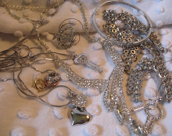 Rhinestone Jewelry Destash Jewelry Lot// Neckalces// Bracelets// Pendant settings// Craft Supplies// Rhinestone Charms