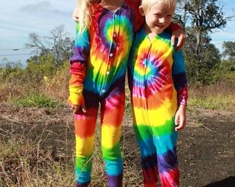 Tie dye Union Suit Youth Onesie Pajamas