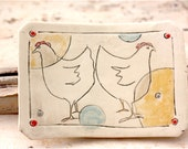 Ceramic Stoneware Soap Dish with Two Chickens