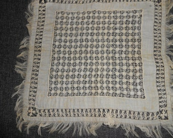 """Antique Nineteenth Century Lace and silk hanky or doily, Excellent craftmanship, almost 7"""" square, lace"""