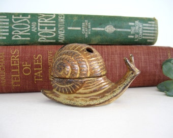 Vintage Ceramic Snail Incense Burner Holder Cone Palo Santo Brown Two Piece Figurine  Candle Holder Made In Japan 1960's 1970's