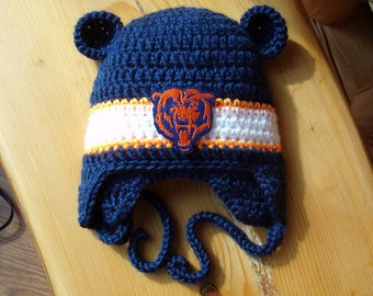 Chicago Bears Baby hat for Newborn to 18 months- Bears team colors