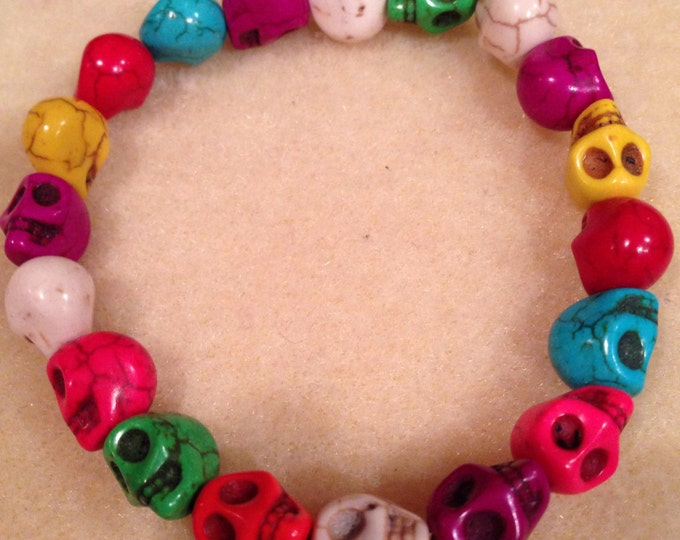 Sugar Candy Skull Magnesite 10mm Stretch Bead Bracelet with Sterling Silver Accent