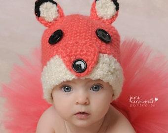 Baby Fox Hat, Halloween, Photo Prop, Newborn to Six Months, Foxy Lady, Animal Hat, Baby Accessory, Halloween Costume, Crochet Animal Hats