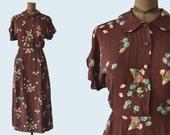 1940s Brown Rayon Printed Dress size S