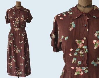 1940s Brown Rayon Printed Dress size S