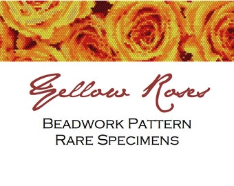 Yellow Roses Peyote/Brick Stitch Beadwork Pattern Cuff Bracelet Bookmark