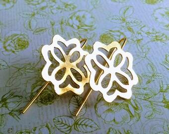 Gold Geometric Earrings, Celtic pattern Earrings, Gold long earrings,  Geometric earrings, Square earrings