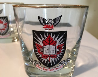 Carleton University Barware Low Ball Glasses Coat of Arms Vintage Set of 2 Drinking Glasses Ours the Task Eternal Motto