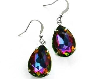 Rainbow Mermaid Tear Earrings - Mystic Topaz Vitrail