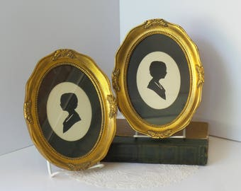 Framed Silhouette of Woman Vintage set of 2
