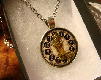 Small Mermaid over Clock Steampunk Pendant Necklace (2417)
