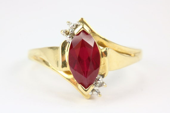 Items similar to 10K Chatham Ruby Diamond Ring, Chatham Ruby Ri, Lab Created Solitaire Ruby Ring, Marquise Ruby Ring, Lab Created Ruby Ring, ...