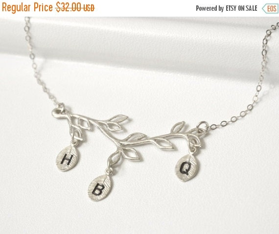 Valentines Sale Personalized Family Tree Necklace SILVER,Mothers Necklace,Initial Necklace,Branch Necklace,Grandma Necklace, Bridesmaid Jewe