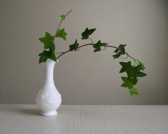 Imperial Glass Milk Vase | Rose Milk Glass Bud Vase | White Bulbous Glass Vase | Rose Design In Relief | Cottage Chic White Wedding Decor