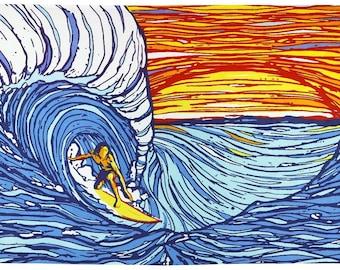 Sonnenuntergang Surfer psychedelischen Gobelin Tischdecke Hand gedruckten Wandkunst riesige 60 x 90 Zoll
