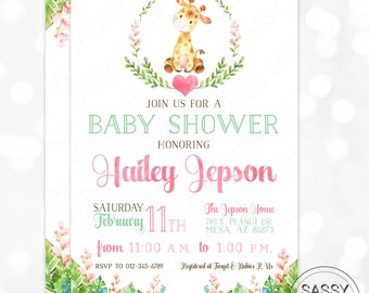 Giraffe Girl Baby Shower Invitation Baby Girl Invite Watercolor Giraffe Baby Shower Invite Tropical Floral DIY Printable Invite PDF (#183)