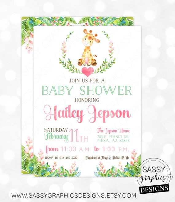 Giraffe Girl Baby Shower Invitation Baby Girl Invite Watercolor