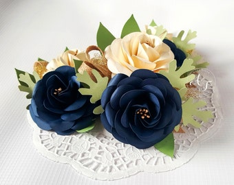Wedding Corsages - Paper Flowers - Navy and Ivory - Weddings - Bridal Shower - Baby Shower - Boutonniere - Large - Set of 3 - Made To Order