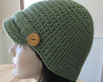 Forest Green Newsboy Hat Cold Weather Accessory Newsboy Cap Cold Weather Accessory