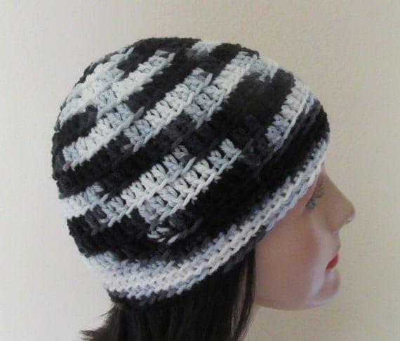 Black White Grey Crochet Hat,  Beanie for Women, Beanie for Men, Snow Playing, Crochet Beanie, Cold Weather Hat, Black White Grey Hat
