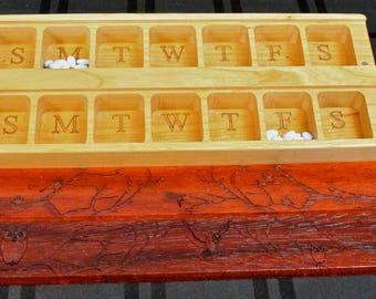 JUMBO Day/Night Weekly Pill Boxes, Owl and Birds, Padauk hardwood top and Solid Cherry Hardwood Bottom, Paul Szewc, Masterpiece Laser