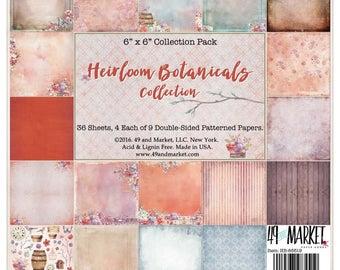 49 and Markey. Heirloom Botanicals, 12 x 12 Paper Pack, Scrapbooking, Card Making,  Mixed Media, Mini Album,