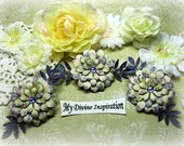 Purple and Ivory Paper Flowers and Paper Embellishments for Scrapbook Layouts Cards Tags Mini Albums Altered Art and Paper Crafts