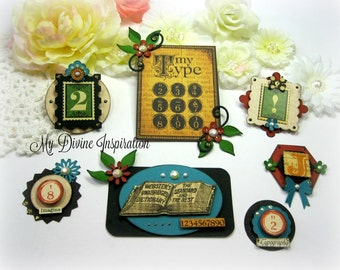 Graphic 45 Typography Handmade Paper Embellishments and Tags for Scrapbooking Cards Mini Albums and Papercrafts