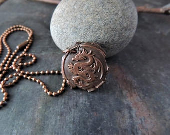 Copper Dragon Pendant and Chain, Copper Pendant, Copper Ball Chain, Handmade Pendant, Rustic Handcrafted, Artisan Jewelry