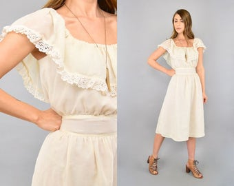 70's Cream Eyelet Ruffle Dress