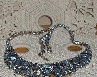 Estate; Blue Rhinestone Chocker  Necklace